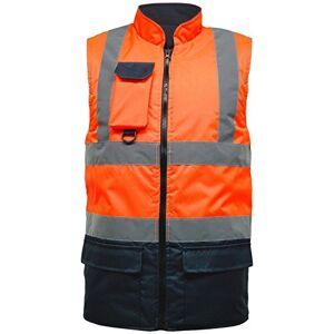 MyShoeStore Hi Viz Vis Chaleco Chaleco con Forro Polar Reversible de Alta Visibilidad, Reflectante, Resistente al Agua, de Seguridad, cálido, Acolchado, Talla Grande S-5XL Naranja Naranja/Azul Marino. M