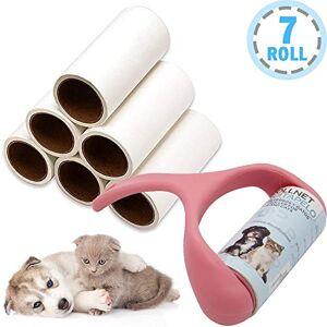 BPS(R) BPS Quitapelusa para Mascotas [1 Mango y 7 Rollos (60 Hojas/Roll)] Cepillo de Limpieza Removedor de Polvo Pegajoso Recolector Pelo (1 Mango + 7 Rolls) Color al Azar BPS-7041 * 1