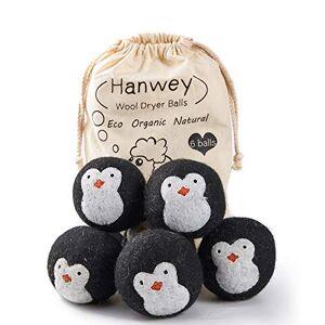 hanwey Bolas de Secadora de Lana, Bolas de Secadora hipoalergénicas, Reutilizable, Secado más rápido, Reducción estática y Suavizante de Telas Naturales Paquete de 6 XL