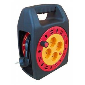 Led Light One Cable alargador con enrollador 3x1,5mm (4 tomas, 15 metros) Negro