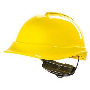 MSA Safety Casco de Protección MSA V-Gard 200 con Ventilación y Ajuste por Trinquete FasTrack - Casco de Trabajo Casco de Seguridad Casco de Construcción, Color: Amarillo