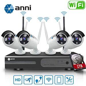 Anni 8CH 1080P Wireless Überwachungskamera HD NVR Kit Wifi Surveillance Systems,4x2.0 MP Megapixel Wetterfestes Wireless Outdoor Bullet IP Kameras,P2P,65ft Nachtsicht,mit 1TB Festplatte