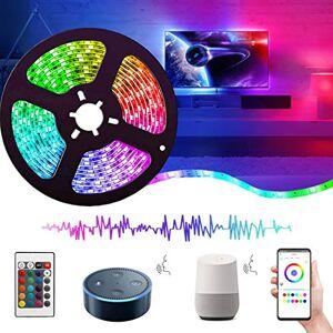 REETWO Tira LED Wifi 5 Metros, Luces LED Musica, 5050 RGB, Impermeable IP65, Funciona con Alexa, Google Assistant, Smartphone APP Android iOS, con Control Remoto,Receptor