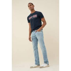 Jeans lima tapered premiun wash bleach com rotos