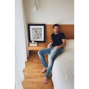 Jeans slender slim premium wash clara com rotos