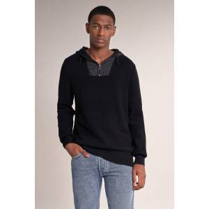 Camisola tricotada gola alta e fecho- Preto- male