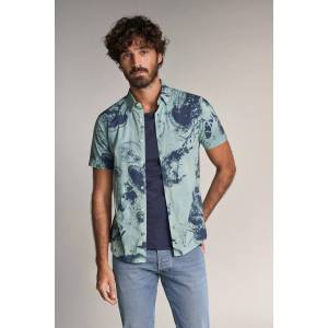 Camisa fit slim manga curta com estampado