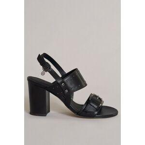 Sandália aberta com buckle e tacão clássico