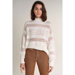 Camisola tricotada grossa com fita renda