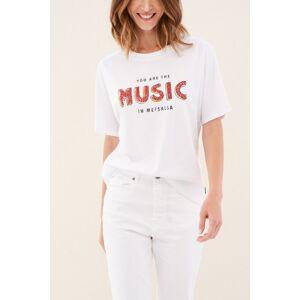 Salsa T-shirt ´music´ brilhante- Branco- female