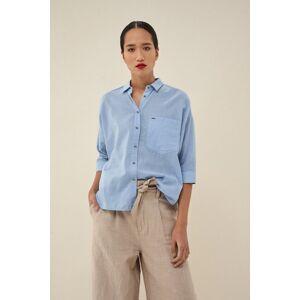 Salsa Camisa fit regular com bolso- Azul- female