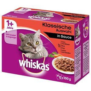 Whiskas comida húmida 96 x 85 g/100 g em promoção: 76 + 20 grátis! - 7+ Seleção clássica em gelatina (96 x 100 g)