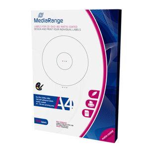 """""""Etiquetas Mediarange para CD/DVD/Bluray MATTE 41-118mm (Pack 100 Folhas)"""""""
