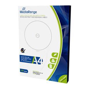 """""""Etiquetas Mediarange para CD/DVD/Bluray MATTE 15-118mm (Pack 100 Folhas)"""""""
