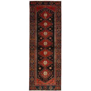 Nain Trading Tapete Atado à Mão Khamseh 288x100 Corredor Dark Grey/Dark Red (Lã, Pérsia / Irão)