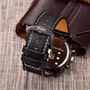 Oulm homens três fusos horários pulseira de couro relógio de quartzo legal grande discagem analógico relógios de pulso