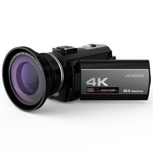 Andoer Portátil 4K 48MP WiFi Câmera de Vídeo Digital Camcorder