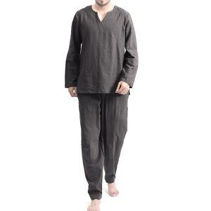 TWO-SIDEDMensCottonConfortávelSoftConjunto de Sleepwear Cor Sólida