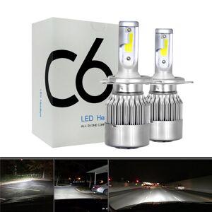 2 pcs 12 V / 24 V C6 LED Lâmpada H1/H4/H7/H11/9005/9006 Branco Faróis 72 W 7200Lm COB Farol Auto Fog Lâmpada Lâmpada