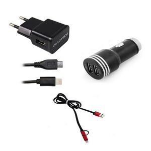 Owlotech Carregador Lightning + Cabo Conversor USB/Micro USB/Lightning + Carregador USB para Carro