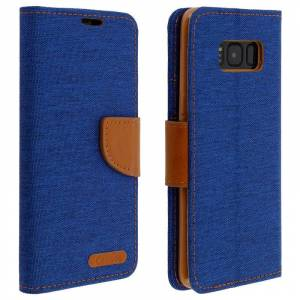 Avizar Funda Libro Textil Canvas Azul/Marrón para Samsung Galaxy S8 Plus