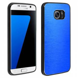 Avizar Funda Protectora de Aluminio y Silicona Azul para Samsung Galaxy S7 Edge