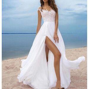 lightinthebox Linha A Ombro a Ombro Cauda Escova Chiffon Alças Vestidos de casamento feitos à medida com Fenda Frontal / Aplicação de renda 2020