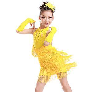 lightinthebox Dança Latina / Roupas de Dança para Crianças Vestidos Para Meninas Treino / Espetáculo Poliéster Mocassim / Cristal / Strass Sem Manga Vestido / Luvas