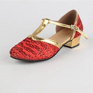 lightinthebox Mulheres Sapatos de Dança Moderna / Dança de Salão Paetês Fecho de Encaixe Salto Baixo Personalizável Sapatos de Dança Dourado / Vermelho / Interior / EU38