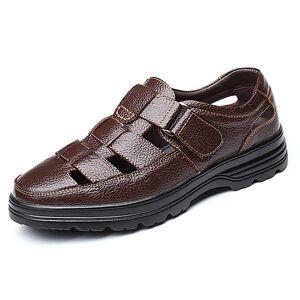 lightinthebox Homens Sapatos Confortáveis Pele Verão / Primavera Verão Clássico / Vintage Sandálias Respirável Preto / Marron