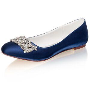 lightinthebox Mulheres Sapatos De Casamento Sem Salto Ponta Redonda Pedrarias / Pérolas Cetim Primavera & Outono / Verão Azul Escuro / Festas & Noite