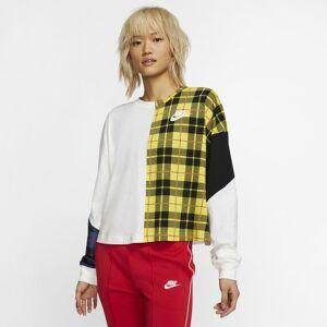 Nike Camisola de manga comprida axadrezada Nike Sportswear NSW para mulher - Branco