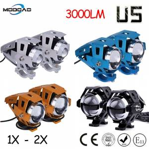 Modoao 1pcs 2pcs 125W Motorcycle LED Headlight 12V 3000LMW U5 Motorbike Driving Spotlights Headlamp Moto Spot Head Light Lamp