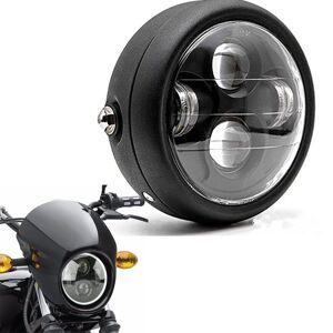 "6.5"" Motorcycle LED Projection Retro Cafe Racer Headlight Hi Low Beam For Harley Bobber Choppers Custom Honda Yamaha"