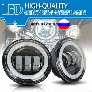 2Pcs Led Fog light 4.5 inch Round White Light 4800LM Black Shell Halo Driving For Harley For Motocycles Fog Lamps