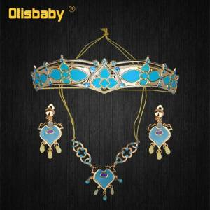 Girls Women Aladdin Jasmine Princess Necklace Earrings Headwear Cosplay Accessories Clips Earrings without Pierced Ear Clip