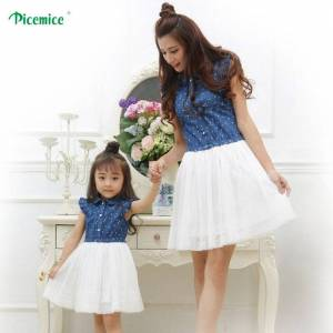 Mother Daughter Dresses 2019 Summer Family Clothing Mom and Daughter Dress Family Matching Outfits Dress for Kids and Women