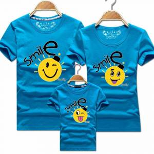 Smile Face Tshirt Mommy and Me Clothes Son Summer Style Korean Harajuku Lolita Womens T Shirt Tops Christmas Clothes for Family