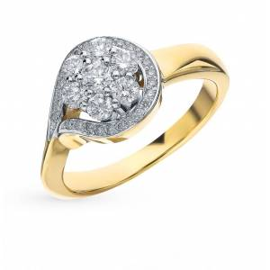 Gold ring with diamonds sunlight sample 585