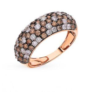 Gold ring with cognac diamonds sunlight sample 585