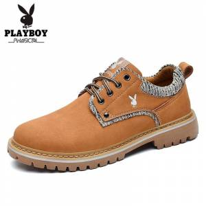 PLAYBOY New Classic Men Flock Leather Tooling Shoes Casual Shoes Lace Up Men Work Shoes Non-slip British Style Men's Shoes