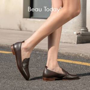 BeauToday Casual Loafers Women Genuine Cow Leather Square Toe Slip-On Autumn Spring Lady Flats Handmade 27176
