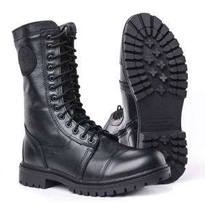 DOF demiseason genuine leather lace-up and zipper black army ankle boots flat military boots Russia 5004/1 WA