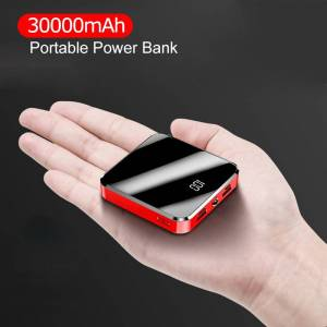 30000mAh Portable Mini Power Bank Mirror Screen LED Display Powerbank External Battery Pack Poverbank For Xiaomi IPhone Huawei