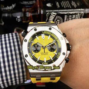Cheap New Diver 26703ST.OO.A051CA.01 Miyota Quartz Chronograph Amarelo Dial caso de prata Mens Watch Cronômetro Rubber Strap Gents Relógios