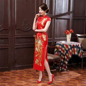 História de Xangai phoenix bordados longo cheongsam Vestido da mulher qipao vestido de roupas tradicionais chinesas China oriental vestidos 3 Cor