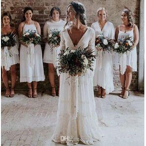 Novos vestidos de noiva de renda boêmio A linha V Neck Backless mangas compridas até o chão Boho Beach Garden vestidos de noiva personalizado bara