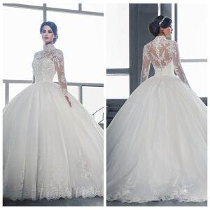 Gola alta vestido de Baile Mangas Compridas Vestidos de Casamento 2018 Formal Personalizado Vestidos de Noiva Do Jardim Vestidos De Mariee Venda Bara