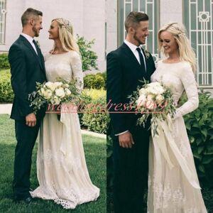 Laço elegante vestidos de noiva boêmio com manga comprida jardim do país Vestido de novia vestido de noiva a linha Plus Size vestido de noiva bara