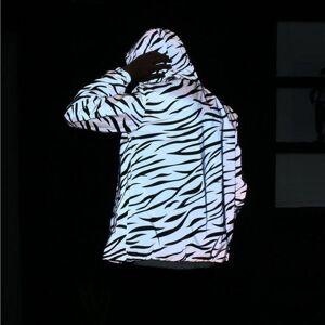 Amantes da primavera Plus Size 2018 Homens Jaqueta Casual Hip Hop 3 M Jaquetas Refletivas Masculino Com Capuz Padrão Zebra Tarja Fluorescente Casaco